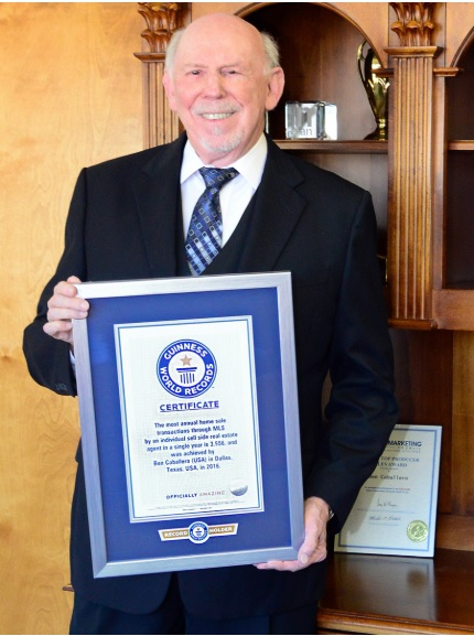 Ben Caballero, a real estate broker in Addison, Texas, received recognition from Guinness World Records for the highest number of home sales in a single year