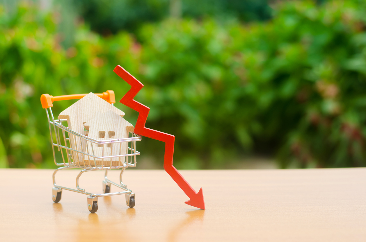 Wooden house in shopping cart and downward arrow. Photo credit: iStock.com/Andrii Yalanskyi