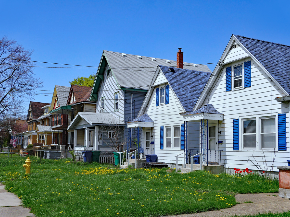 Neighborhood with lower-priced homes. PhotoCredit: iStock.com/peterspiro